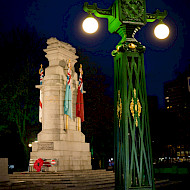 Rochdale Memorial Gardens, Architectural Paint Research of the three types of historic lamp standards. Client: Rochdale Borough Council.  Image courtesy of Rochdale Borough Council. Employer: University of Lincoln